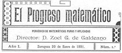 Ttitular del primer número de El Progreso Matemático