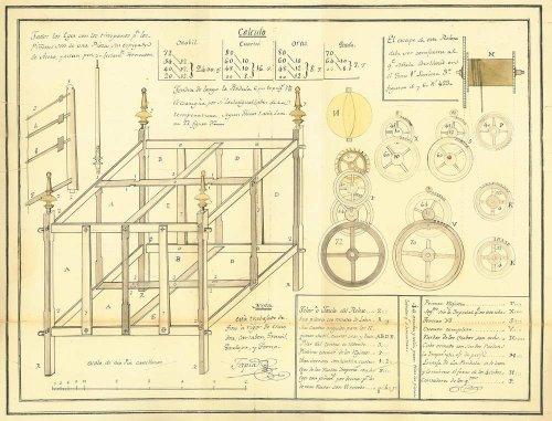 Planos del reloj diseñado por Tapia